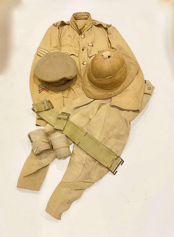 WW1 Hertfordshire Yeomanry Gallipoli Veterans Uniform Sun Helmet Cap