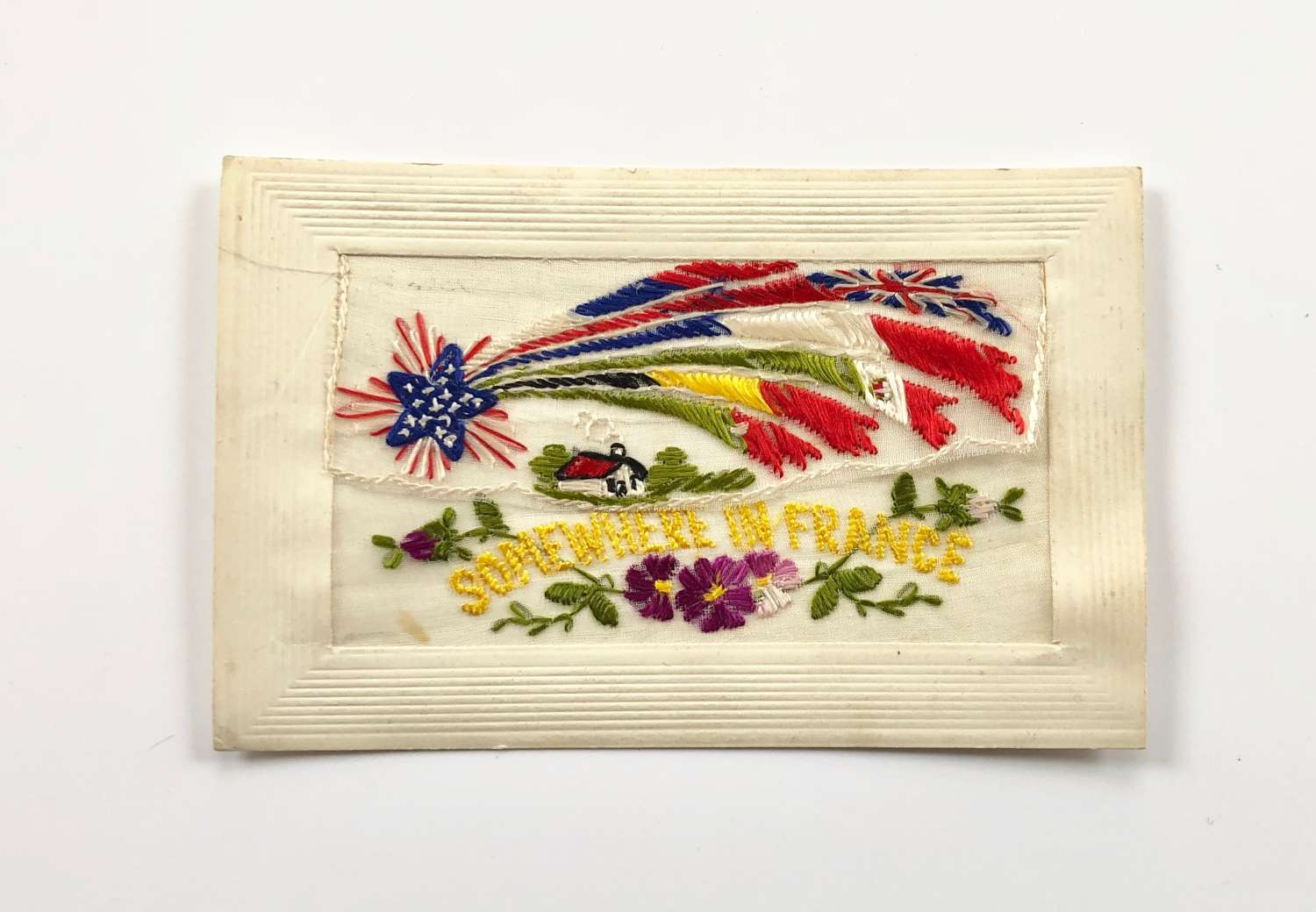WW1 Silk Embroidered Postcard Somewhere in France.