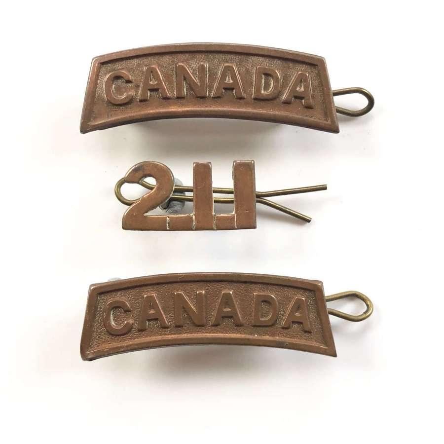 WW1 1915 Canadian 211 (American Legion) Bn Badges.
