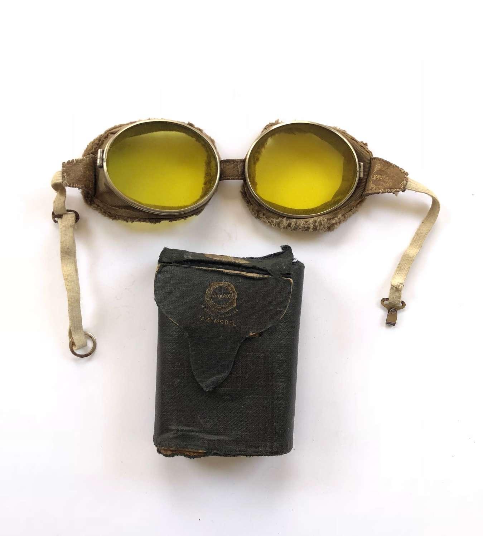 WW1 RFC RNAS RAF Pattern Triplex Flying Goggles & Box.