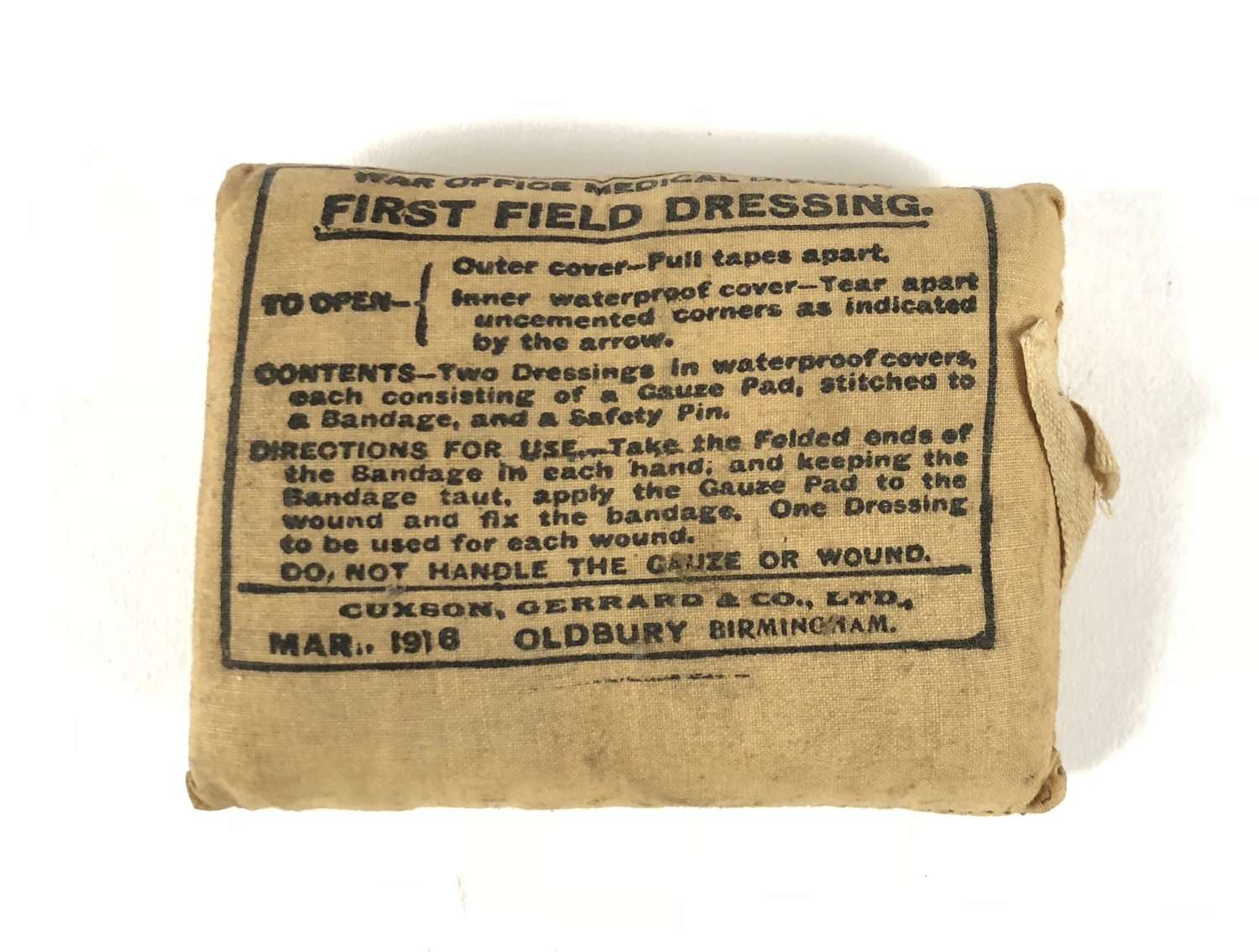 WW1 Battle of the Somme Period British First Field Dressing.
