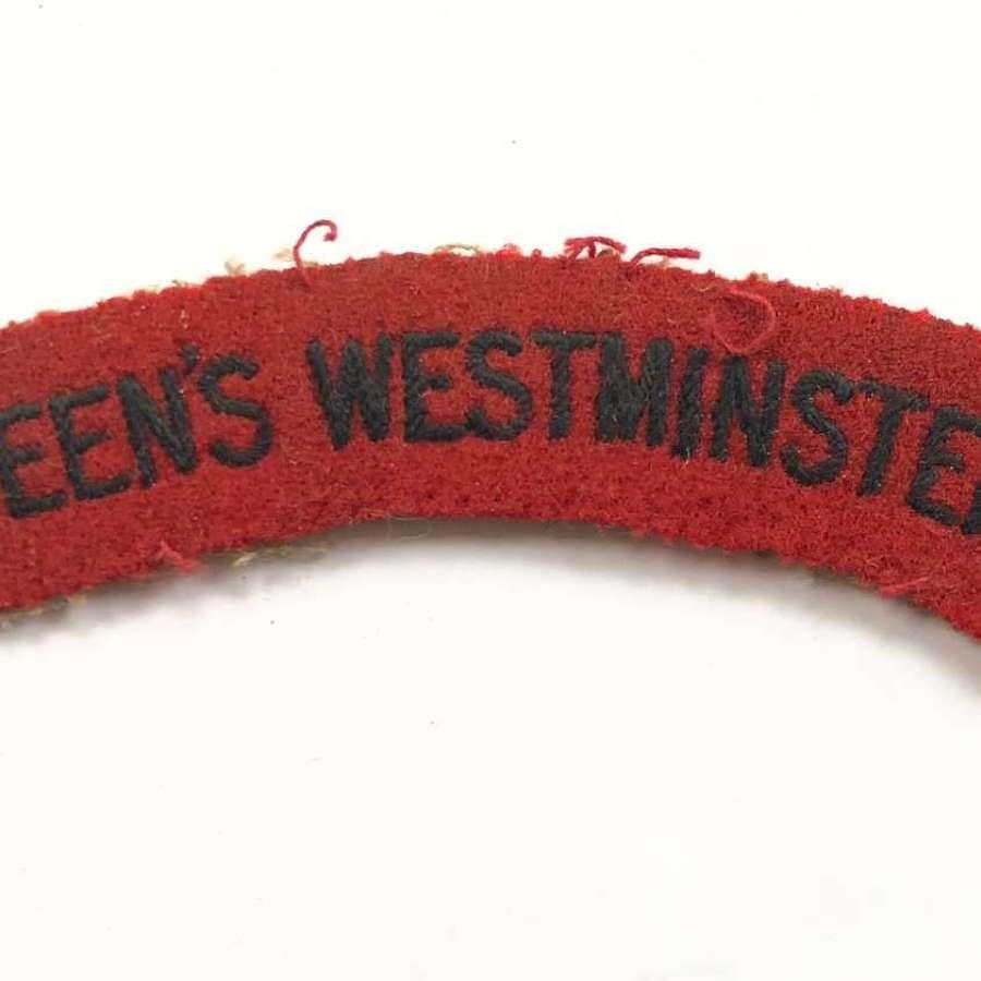 WW2 Queen's Westminster Cloth Shoulder Title Badge.