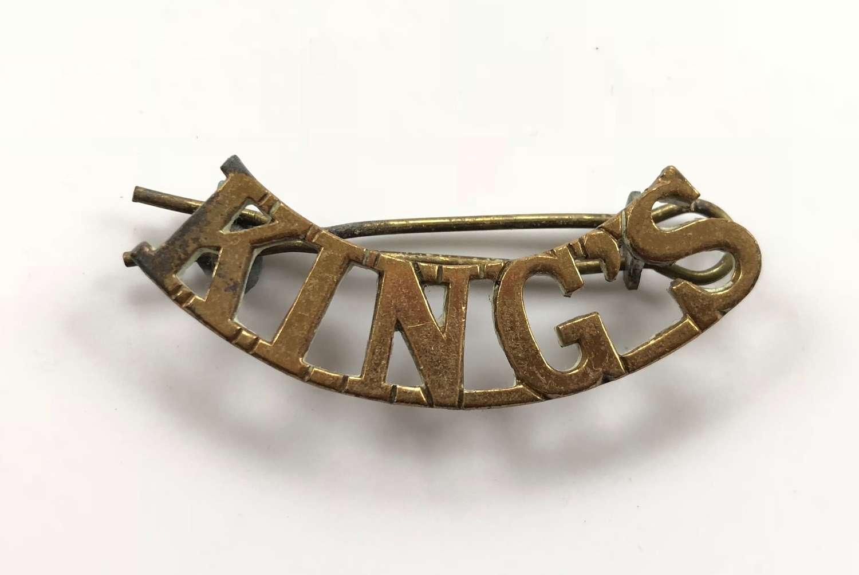 WW1 King's Liverpool Regiment Brass Shoulder Title.