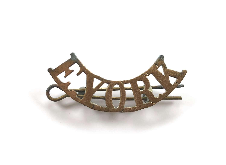 WW1 East Yorkshire Regiment Brass Shoulder Title.