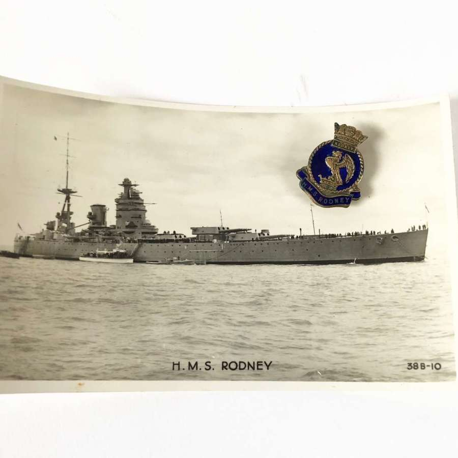 HMS Rodney Lapel Badge and Postcard.