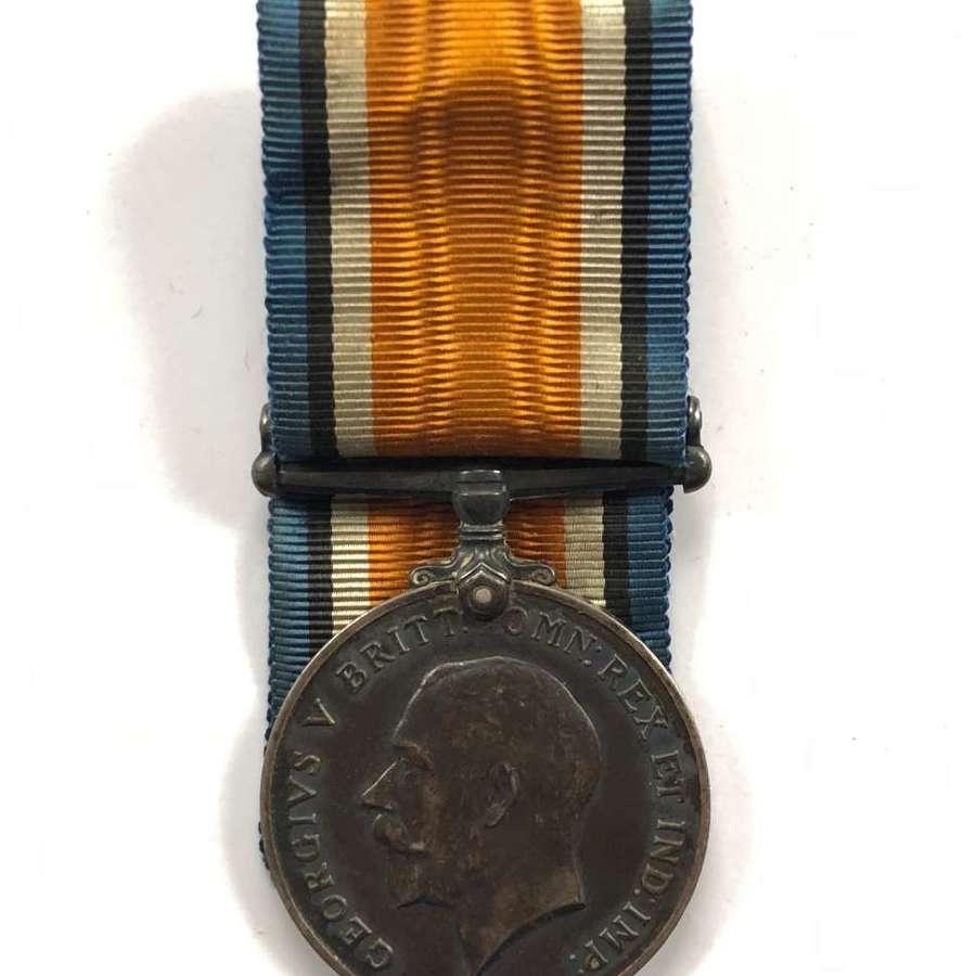 WW1 Welsh 14th (Swansea Pals) Bn Welsh Regiment British War Medal.