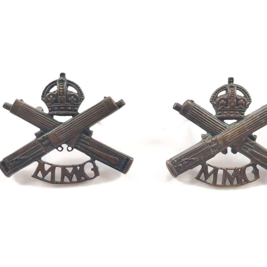 WW1 Motor Machine Gun Corps MMG Officer's Collar Badges.