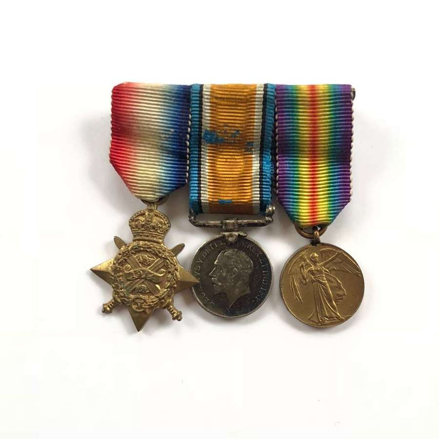 WW1 1914 Mons Star Miniature Medal Group of Three.
