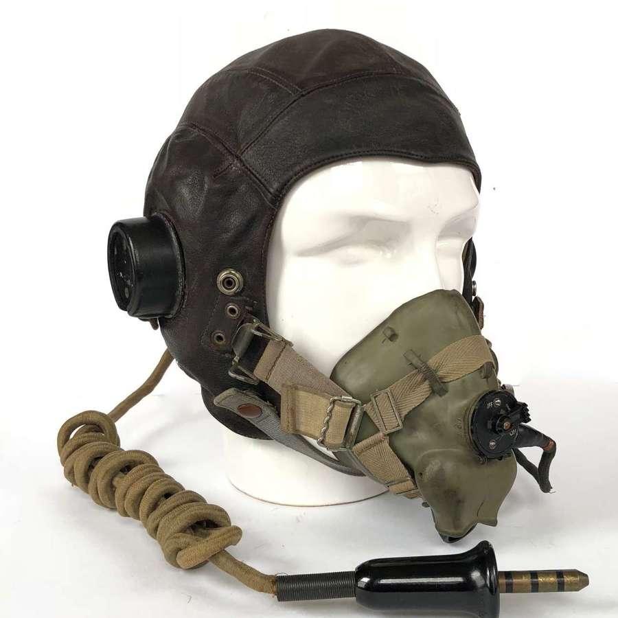 WW2 Pattern RAF C Type Flying Helmet and Oxygen Mask.