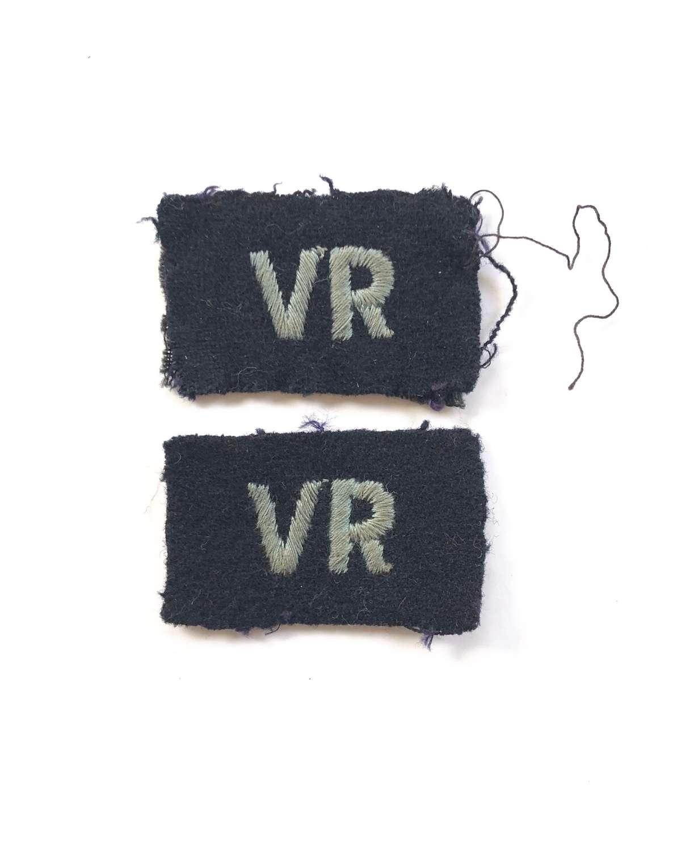 WW2 RAF Volunteer Reserve VR Embroidered Badges.
