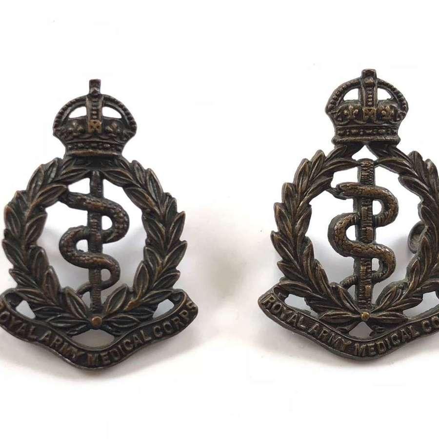 WW1 WW2 Pattern Royal Army Medical Corps RAMC Collar Badges.