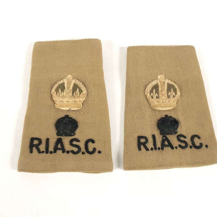 WW2 Royal Indian Army Service Corps Slip on Rank Badges