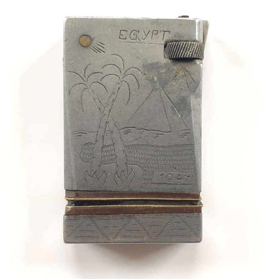 Trench Art Alloy Cigarette Lighter Egypt.