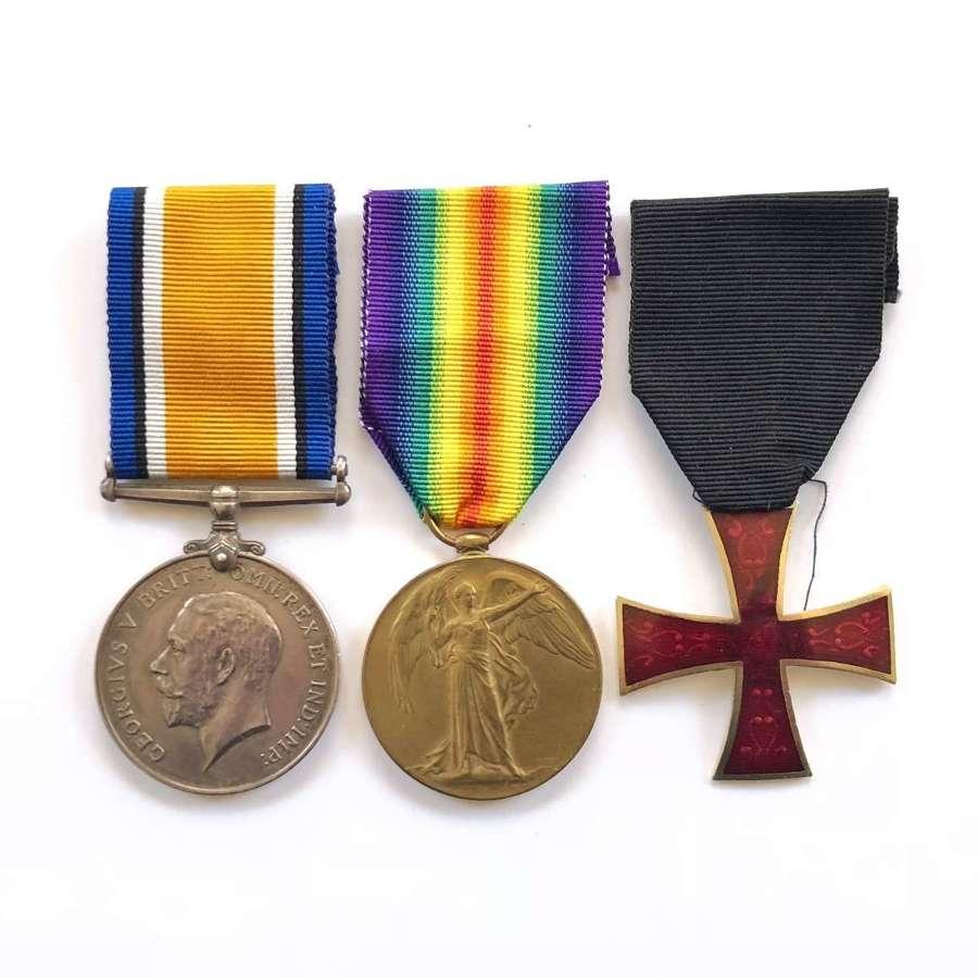 WW1 York & Lancashire Regiment Officers Medals.