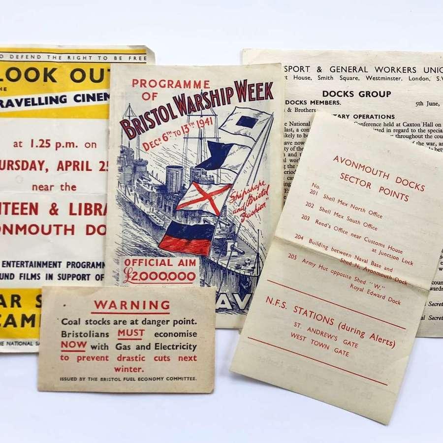 WW2 Bristol ARP Avonmouth Docks Information Ephemera.