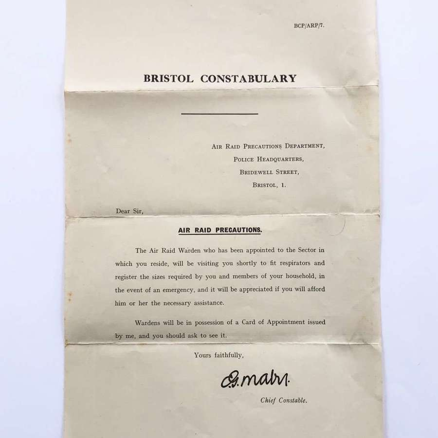 WW2 Bristol Constabulary Gas Mask Leaflet.