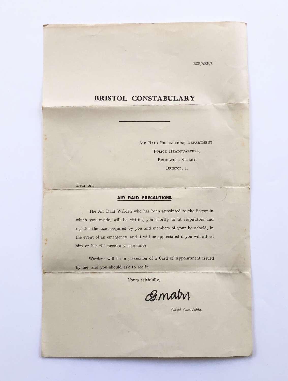 WW2 Bristol Constabulary Gas Mask Leaflet.