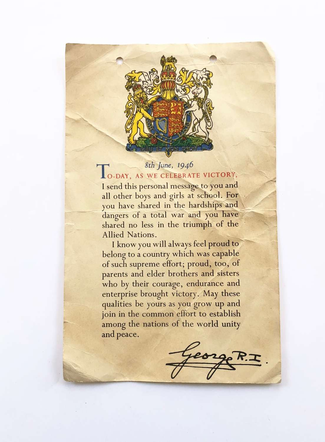 WW2 Home Front 8th June 1946 Victory Day Certificate.