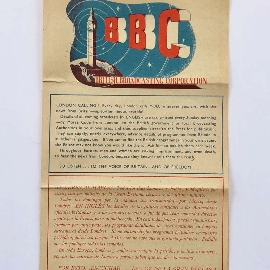 WW2 BBC London Calling Leaflet.