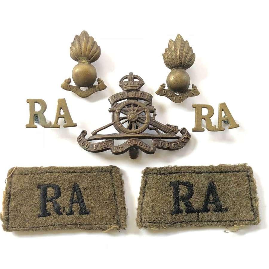 WW2 Period Royal Artillery Uniform Badges.