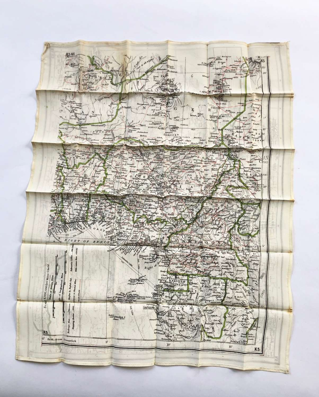 WW2 RAF Silk Aircrew Escape Map of Nigeria, Congo