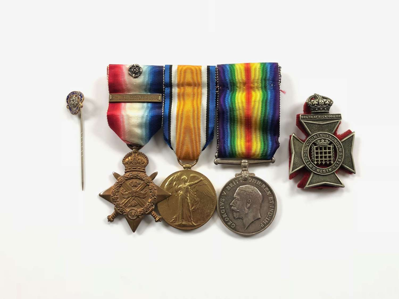 WW1 16th London RAF Pilots 1914 Mons Star Group of Three.