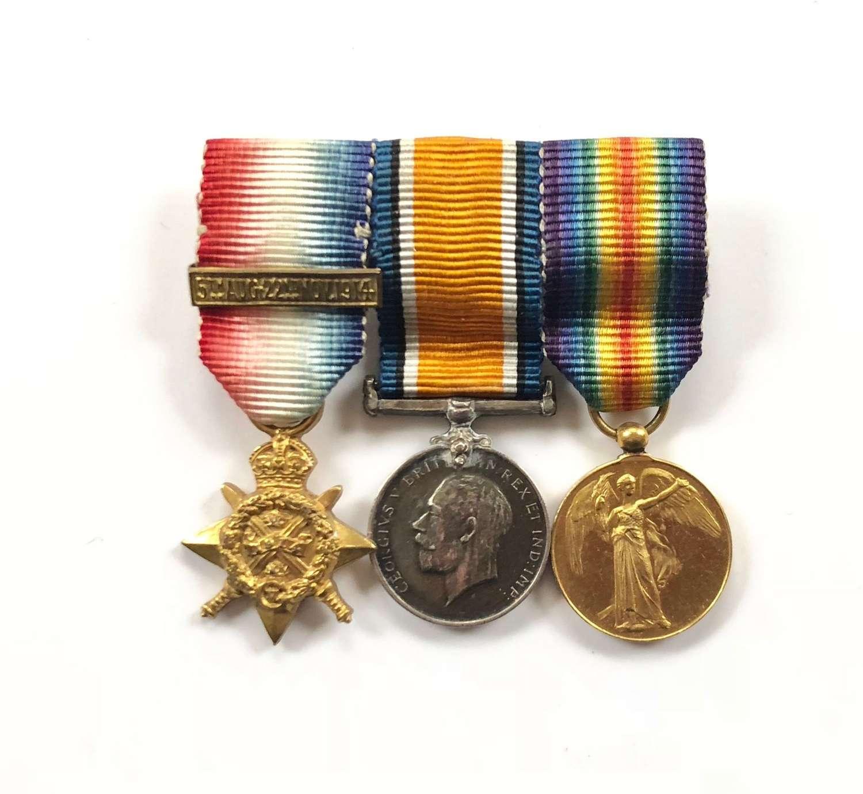 WW1 1914 Mons Star & Bar Miniature Set of Medals.