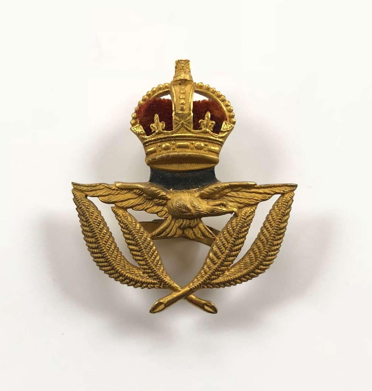 WW1 Attributed 1918 RAF 2nd Lieutenant War Economy Cap Badge by Ludski