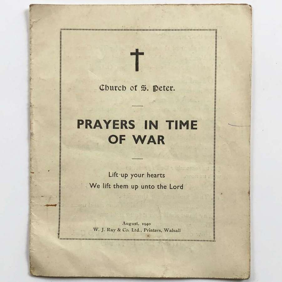 WW2 1940 Prayers in Time Of War Booklet.