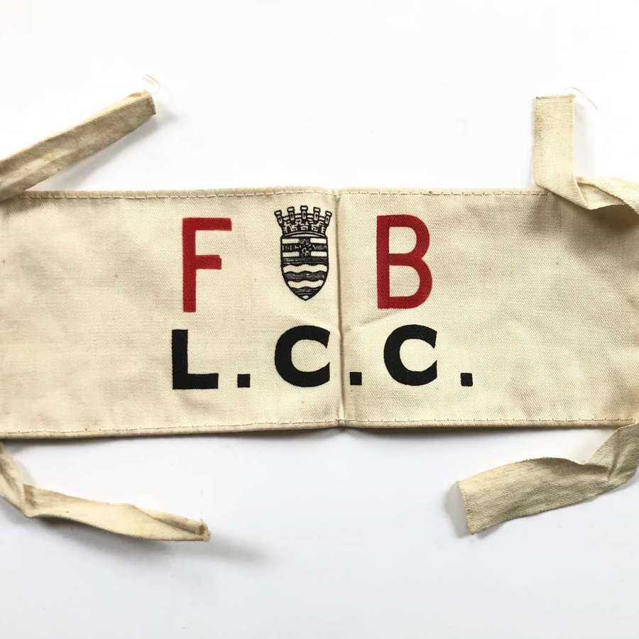 WW2 Blitz London County Council Fire Brigade Home Front Arm Band.