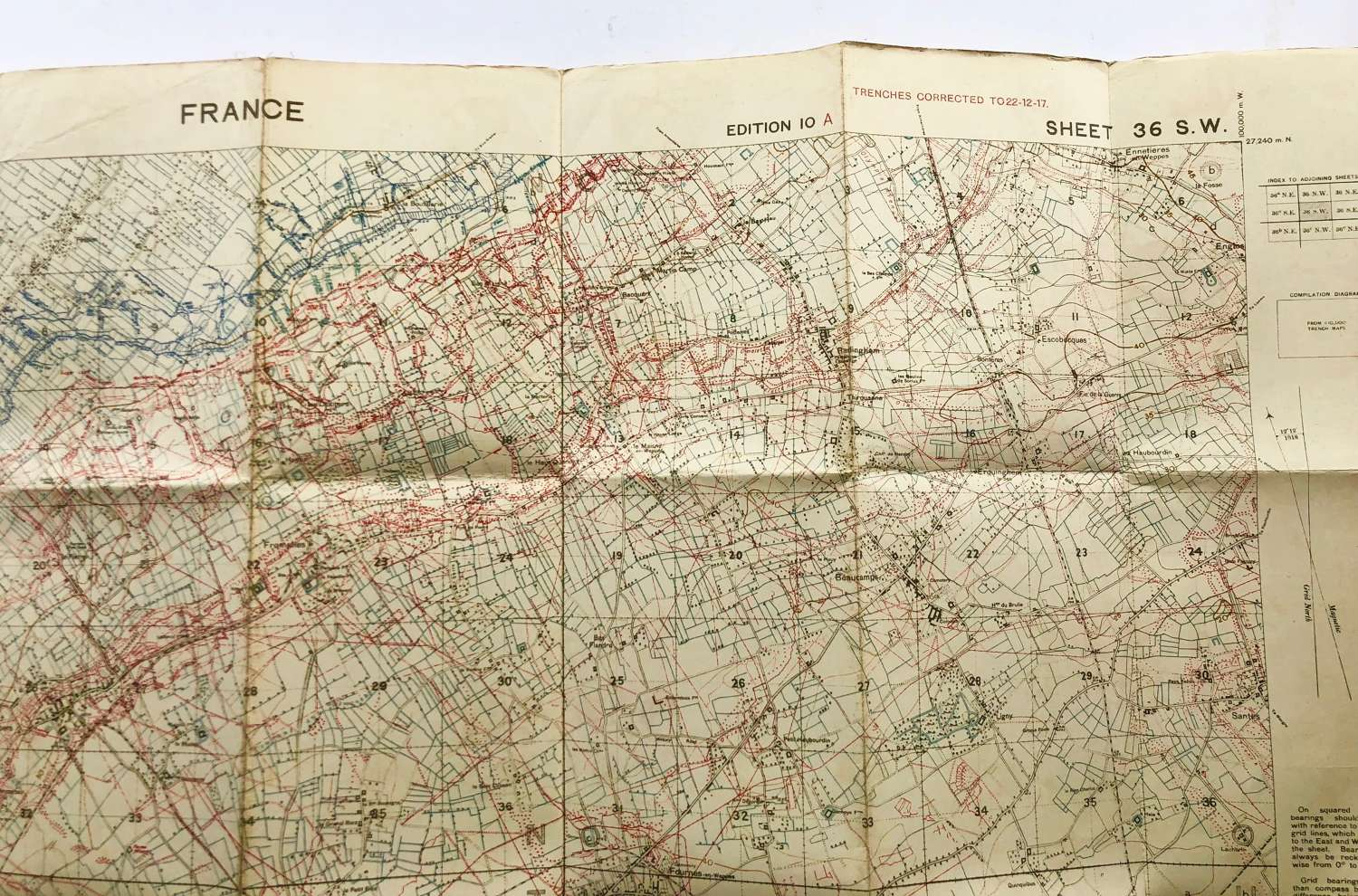 WW1 1917 British Army Trench Map France.