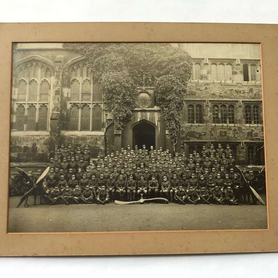WW1 1918 Large Photograph RAF Officer Cadets Oxford.