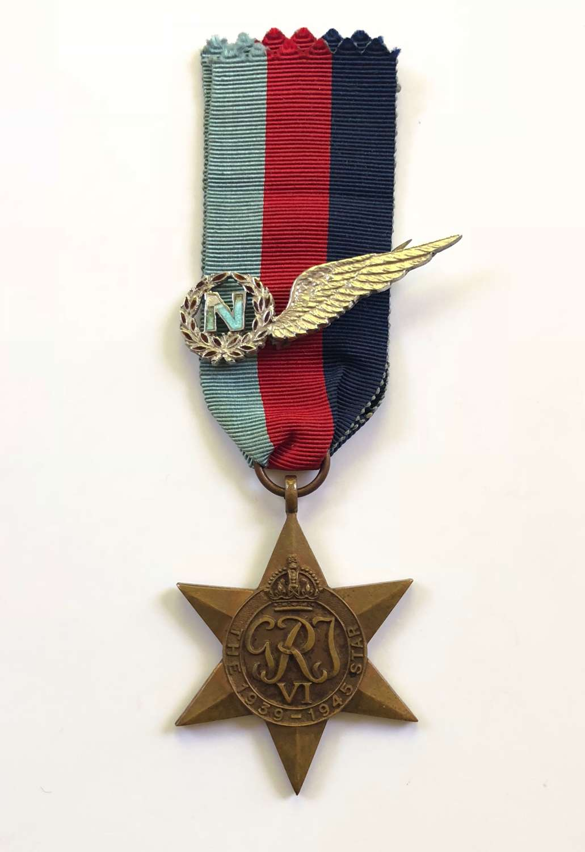 WW2 RAF 51 Squadron Navigator Casualty Named  1939/45 Star & Brooch