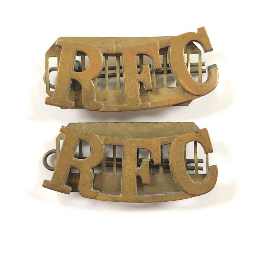 WW1 Royal Flying Corps Pair of Brass Shoulder Title Badges.