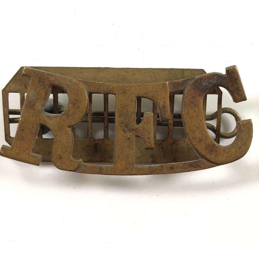 WW1 Royal Flying Corps Brass Shoulder Title Badge.