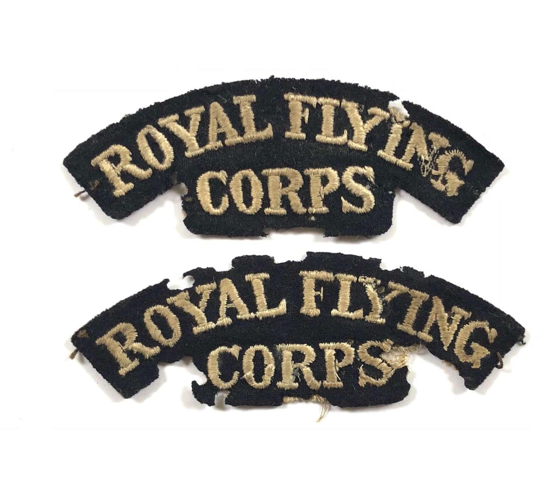 WW1 Royal Flying Corps RFC Matching Pair Cloth Shoulder Titles.