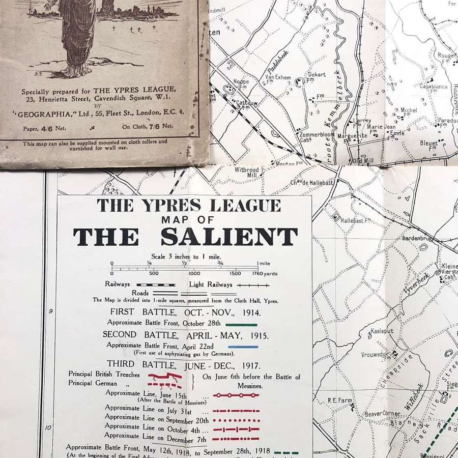 WW1 The Ypres League Map of the Ypres Salient.