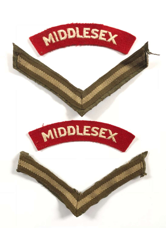 WW2 / Korea War Period Middlesex Regiment Cloth Shoulder Titles Badge.