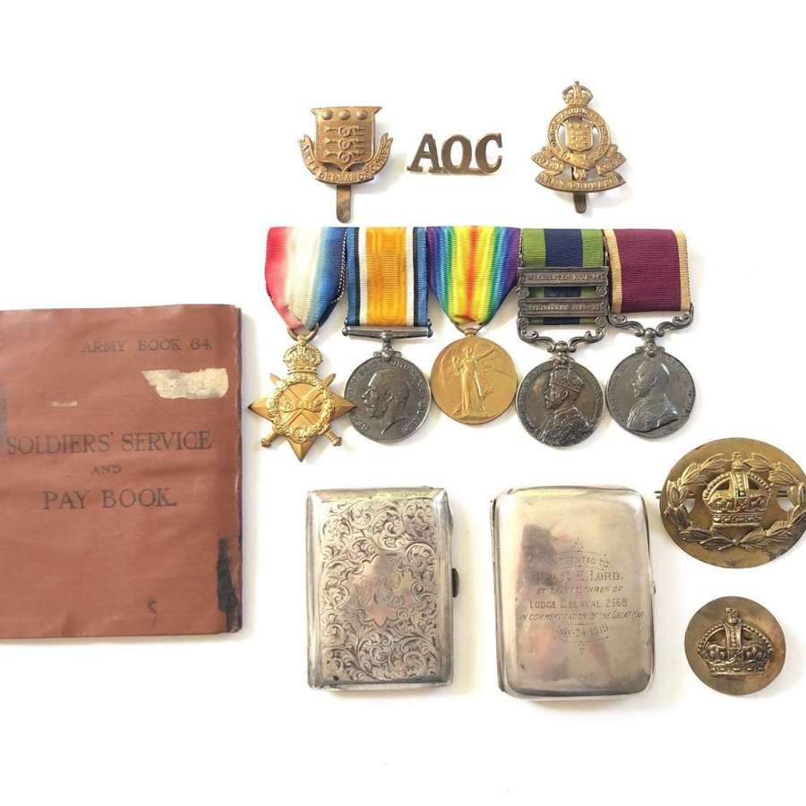 WW1 / India Army Ordinance Corps Group of Five Medals Plus Items
