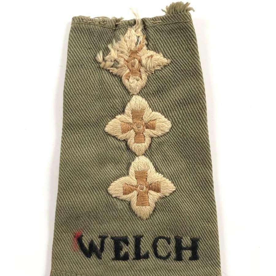 WW2 Malaya Period Welch Regiment Jungle Green Capt. Rank Slip On Badge