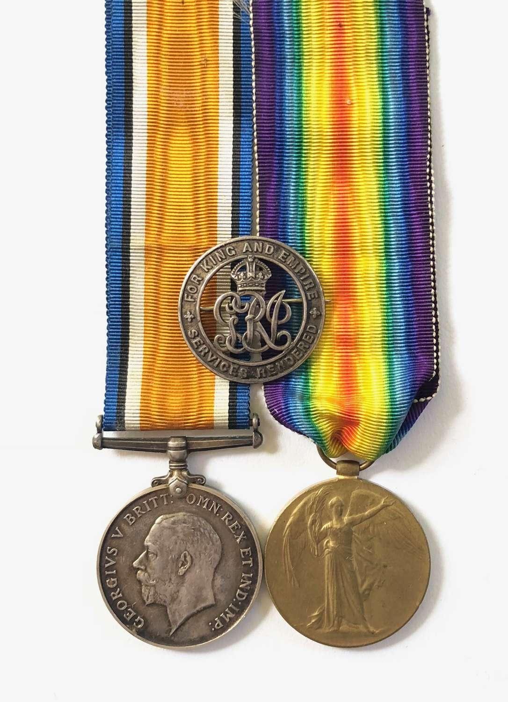 WW1 Hertfordshire Regiment / Welsh Regiment Pair of Medals & SWB