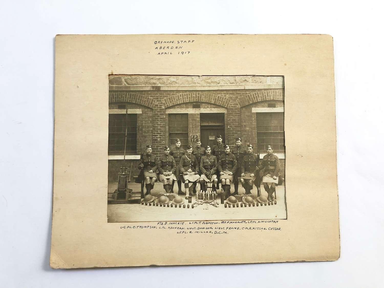WW1 1917 Gordons Large Original Photograph Grenade Staff Aberdeen
