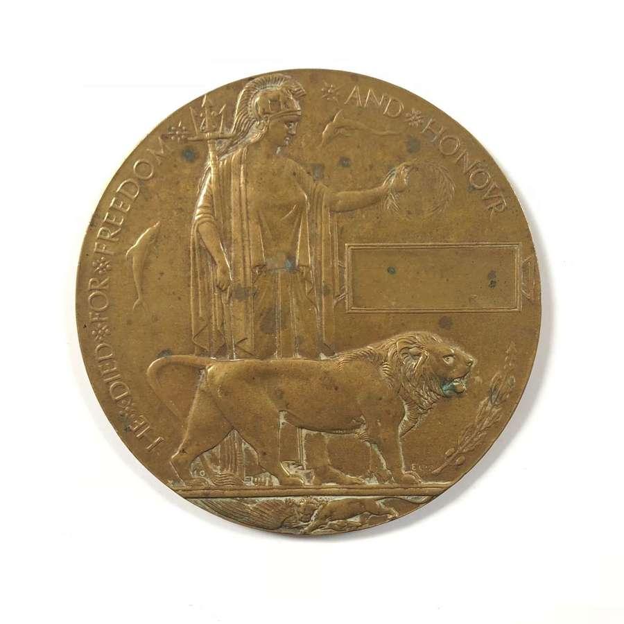 WW1 Blank Memorial Bronze Plaque.