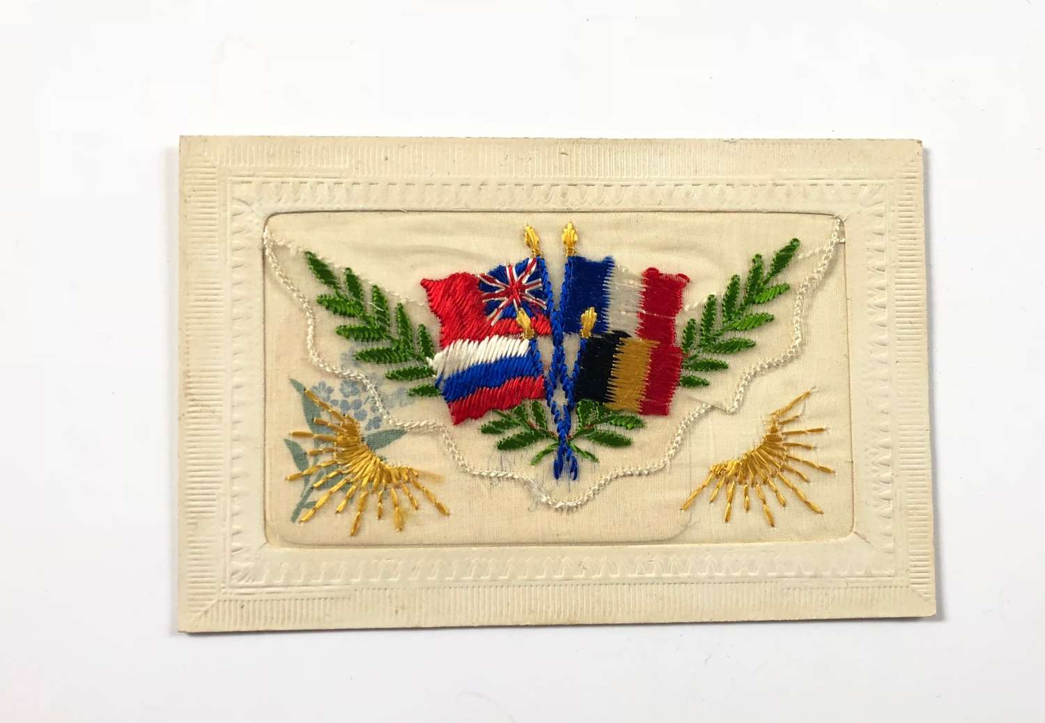 WW1 United We Stand Flags of the Allies Silk Postcard.