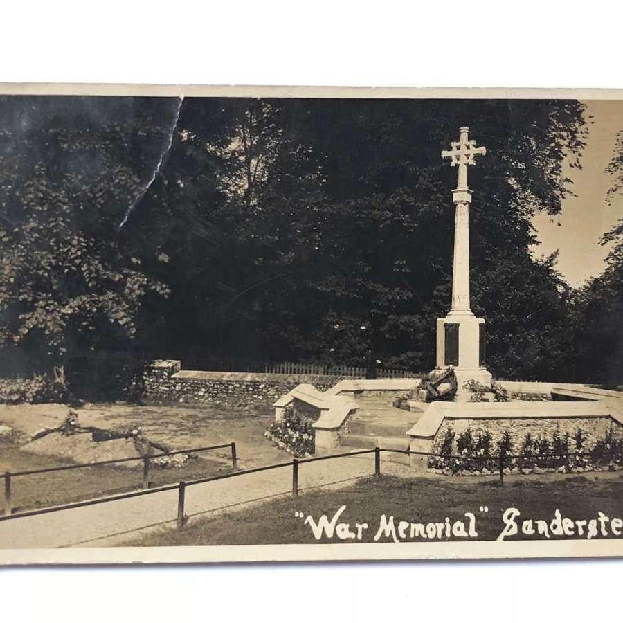 WW1 Original Photographic postcard of Sanderstead War Memorial.