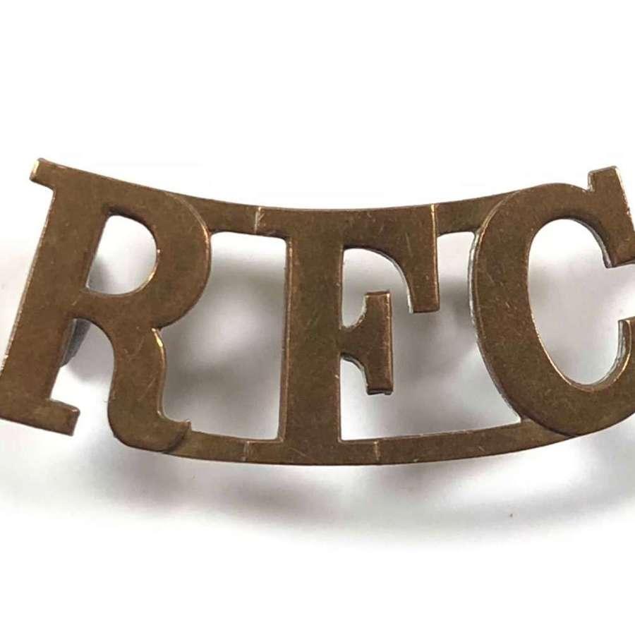 WW1 Royal Flying Corps Brass Shoulder Title Badges.