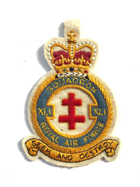 RAF Cold War 41 Fighter Squadron Flying Suit Badge.