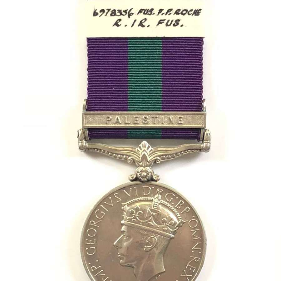 """Royal Irish Fusiliers General Service Medal Clasp """"Palestine"""""""