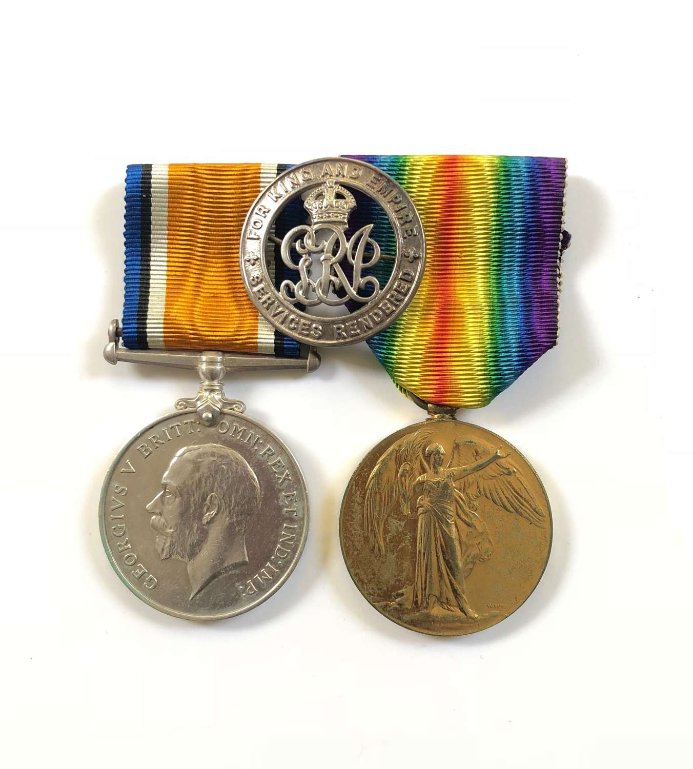 WW1 Manchester Regiment Pair of Medals and Silver War Badge.