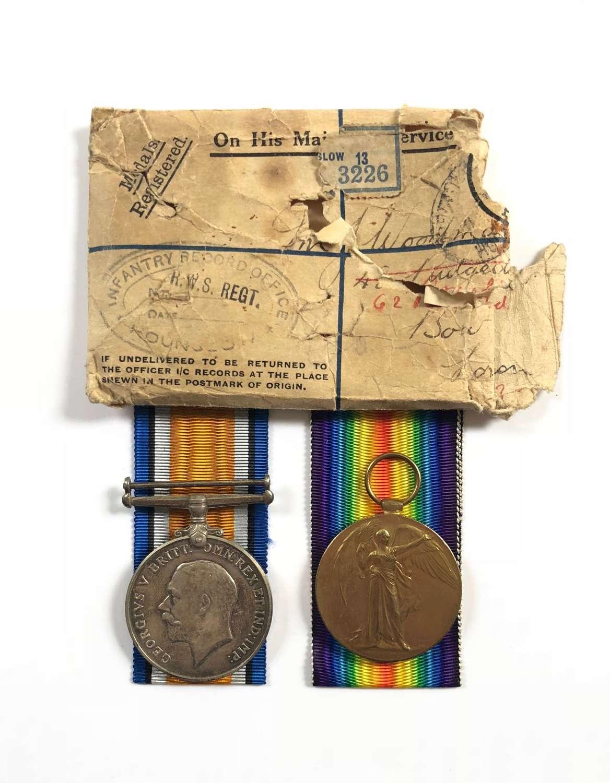 WW1 Queen's Royal West Surrey Regiment Pair of Medals.